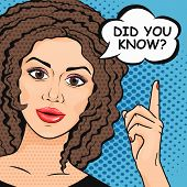 Pop Art woman asking question Did You Know? Retro Wise woman thinking in comic style. Teaching and explaining concept vector illustration. poster