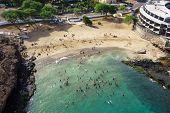 Aerial view of Prainha beach in Praia - Santiago - Capital of Cape Verde Islands - Cabo Verde poster