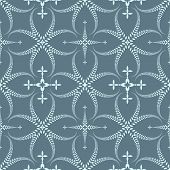 Religion seamless pattern. Laurel wreath, lace view texture with cross. Ceremonial, funeral background. Swirl stylized ornament. Gray, blue colored. Vector poster