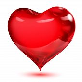 Big opaque glossy red heart with shadow on white background poster