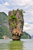 James Bond island near Phuket in Thailand. Famous landmark and famous travel destination poster