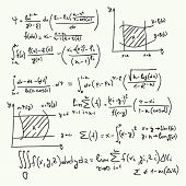 Vector pattern with mathematical formulas, calculations, graphs, proof and scientific research in the field of algebra. Paper sheet with hand-drawn characters. poster