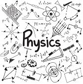 Physics science theory law and mathematical formula equation doodle handwriting and model icon in white isolated background paper used for school education and document decoration create by vector poster