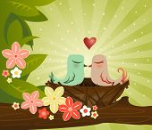 two birds kiss in their cozy little nest - surrounded by leaves and flowers poster