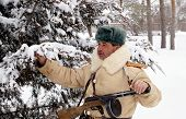 Officer the defender of Stalingrad in winter regimentals reconstruction poster