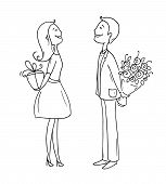 Romantic scene with cartoon characters - man giving flowers to a woman. Lady giving gift box to a boyfriend. Exchange of gifts between partners. Doodle hand drawn vector illustration isolated on white. poster