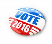 Vote election campaign badge button for 2016. 3d Illustrations on a white background poster