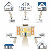 Vector illustration: mortgage loan to buy a house. Infographics: Mortgage loan as a cash flow. Buying real estate in white, blue, grey colors. Banking services for the provision of mortgage lending. poster