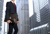 Portfolio investor. Businessman with briefcase  poster