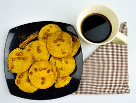 coffee break with traditional foods in Malaysia, rempeyek