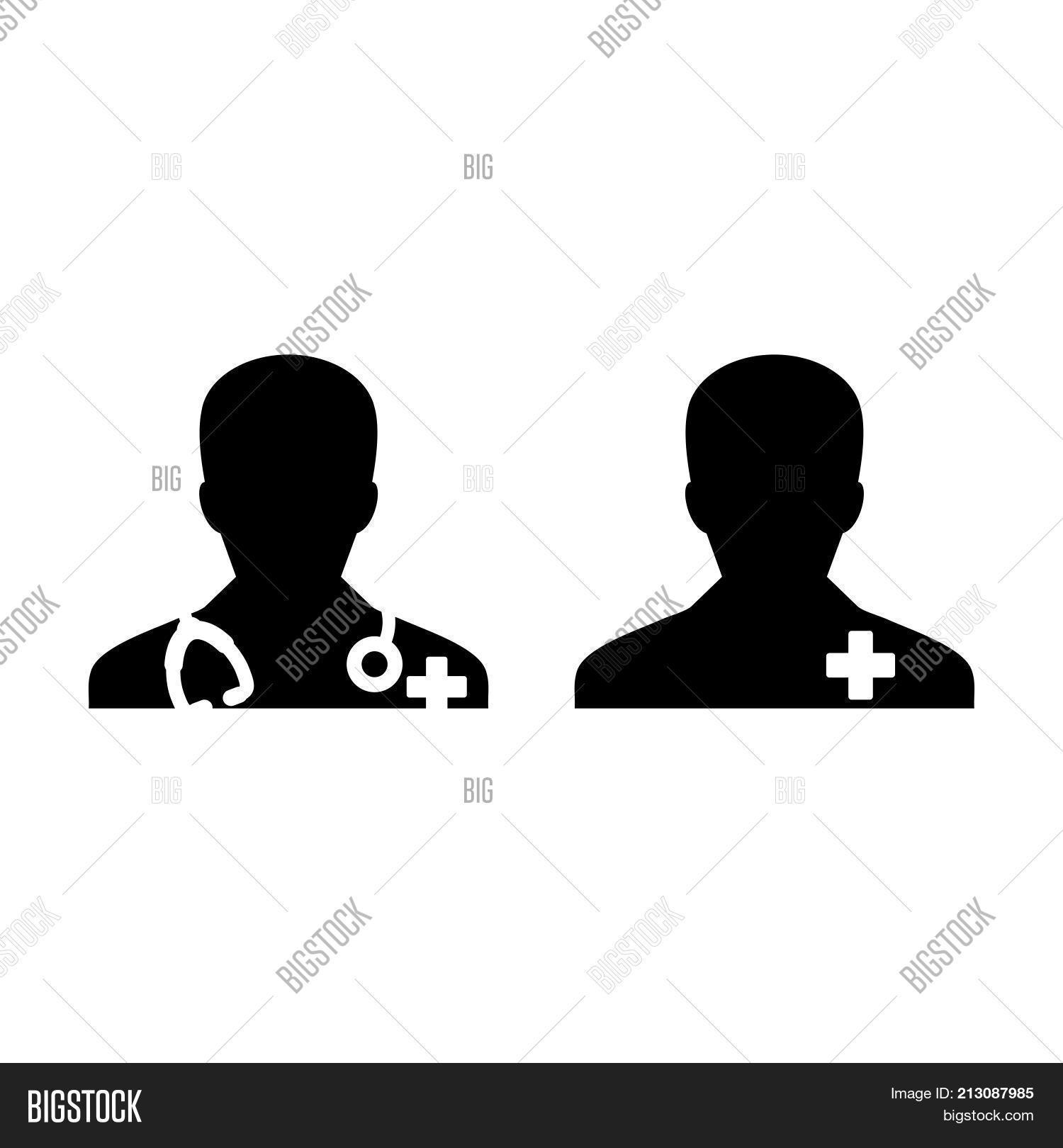 Doctor icon male patient medical vector photo bigstock doctor icon with male patient medical consultation and assistant avatar in symbol glyph pictogram il buycottarizona Images