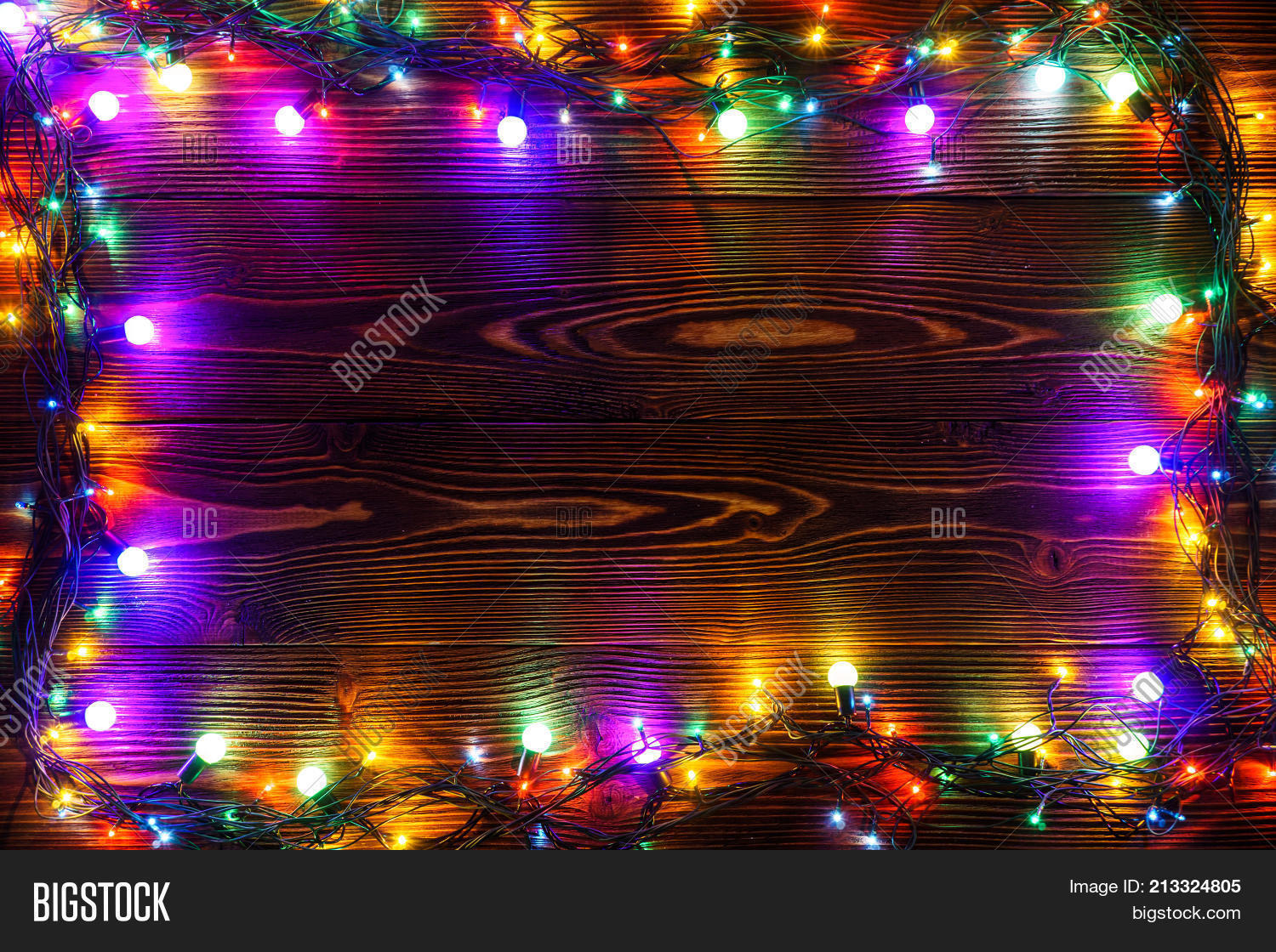 Colorful Christmas Lights Background.Wreath Garlands Image Photo Free Trial Bigstock