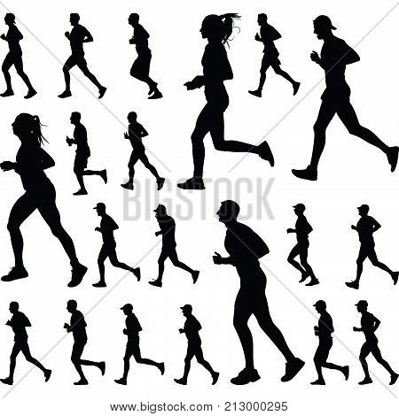 girl and boy as a runner group silhouette vector