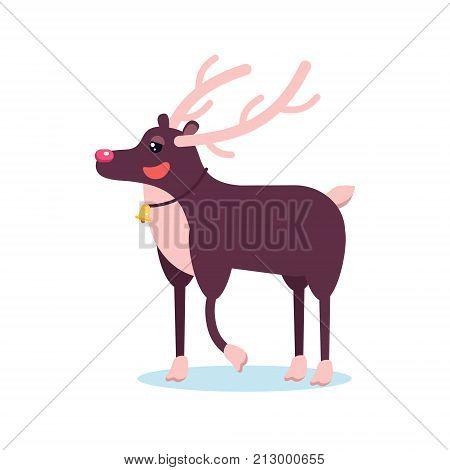 Happy Smiling Christmas Deer Cartoon Character Smiling With Raising Hoof. Cheerful Positive Xmas Rei