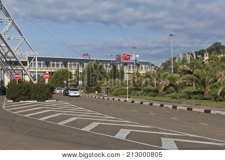 Adler, Sochi, Krasnodar region, Russia - July 12, 2016: View on the territory of the airport of Sochi and the Aeroexpress terminal