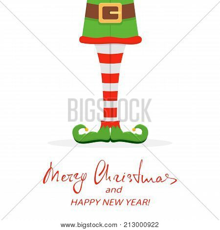 Lettering Merry Christmas and Happy New Year with elf legs in green shoes isolated on white background, illustration.
