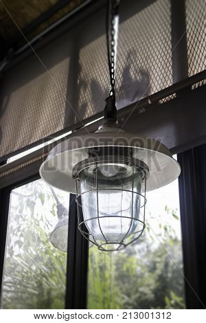 Decorating hanging vintage bulb lamp stock photo
