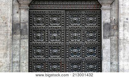 Medieval Black Metal Armoured Door Square Pattern