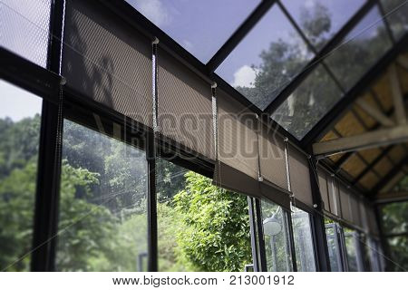Modern loft rooftop with natural outside view stock photo
