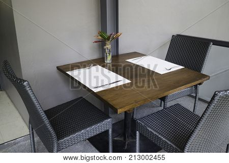 Standard table setting of hotel restaurant stock photo