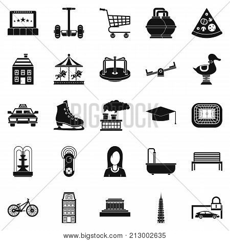 City hobby icons set. Simple set of 25 city hobby vector icons for web isolated on white background