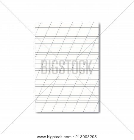 Vector opened realistic school cursive writing worksheet with red margins and diagonal lines handwriting manual with shadow. Blank lined notebook or copy-book sheet mockup or template