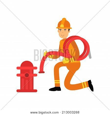 Fireman in uniform and protective helmet, connecting water hose to fire hydrant. Fearless firefighter officer at work. Rescue worker male character. City hero. Vector illustration isolated on white.