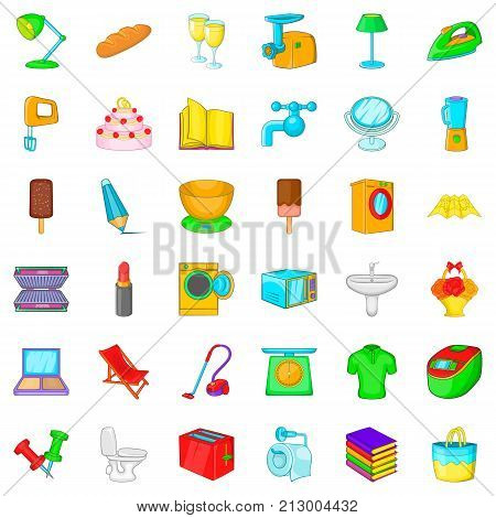 Toaster icons set. Cartoon style of 36 toaster vector icons for web isolated on white background