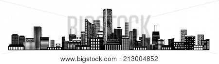 Horizontal city scape with buildings with little windows on white background. City scape outline. Vector illustration for your graphic design.