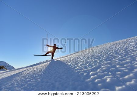 adventurous skiers and positions & skier concept