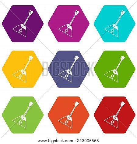 Balalaika icon set many color hexahedron isolated on white vector illustration