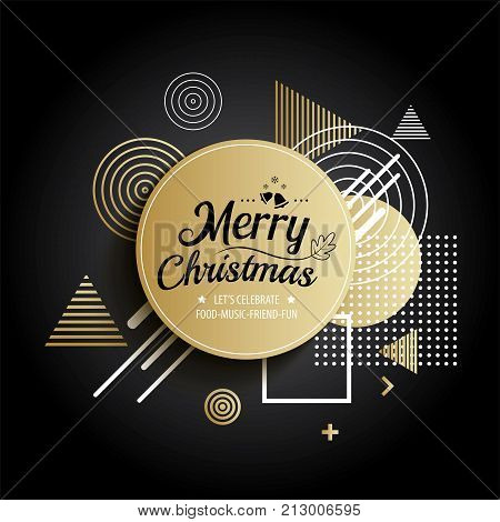 Abstract meryy christmas gold circle geometric pattern design and background. Use for modern design cover template decorated brochure flyer greeting card.