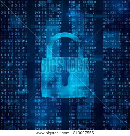 hacker attack lockout. data protection from hacking. antivirus software. cyber security. data encryption. protection information in network and Internet. firewall. matrix - abstract vector background