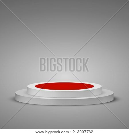 Cylindrical podium with red carpet. Stage Podium Scene with a step. Vector illustration