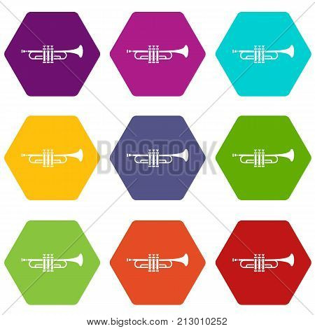 Brass trumpet icon set many color hexahedron isolated on white vector illustration