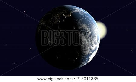 Are visible Oceania and Australia Southeast Asia and India on earth illuminated by the sun rotates around its axis into space 3d rendering elements of image furnished by NASA