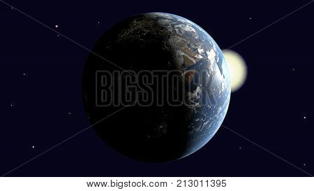 Are visible Africa and Europe on earth illuminated by the sun rotates around its axis into space 3d rendering elements of image furnished by NASA