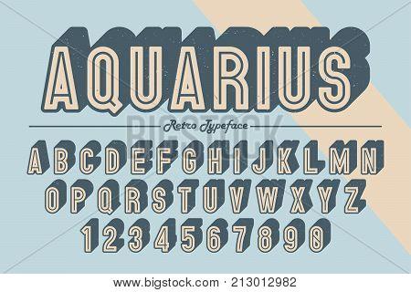 Decorative vector vintage retro typeface font typeface. Color swatches control opacity mask
