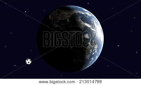 A realistic soccer ball revolves around a rotating earth lit by the sun against a starry sky 3d rendering elements of image furnished by NASA
