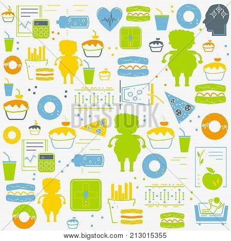Simple seamless obesity background pattern. Concept of obesity related disease. Website colorful background.