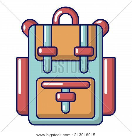 Backpack adventure icon. Cartoon illustration of backpack adventure vector icon for web
