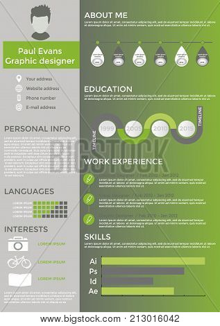 Flat resume info graphic design. Resume cv set with Infographics and Timeline. Clean vector