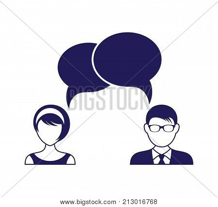 Man and woman with dialog speech bubbles concept