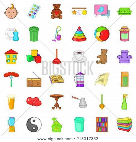 Housekeeping icons set. Cartoon style of 36 housekeeping vector icons for web isolated on white background