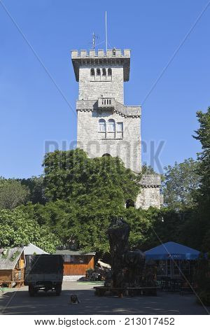 Sochi, Hosta District, Krasnodar region, Russia - July 14, 2016: Tower on the top of the mountain Big Ahun, Sochi