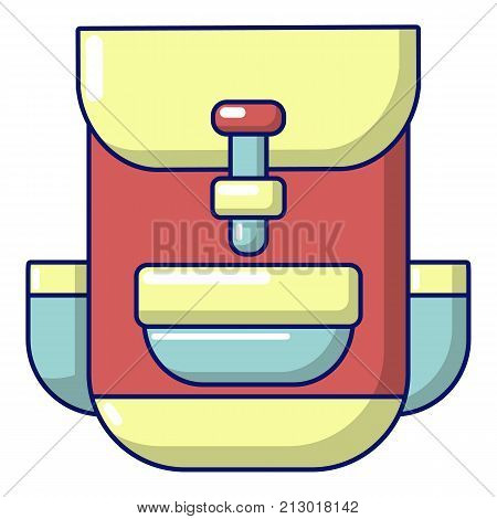 Backpack education icon. Cartoon illustration of backpack education vector icon for web
