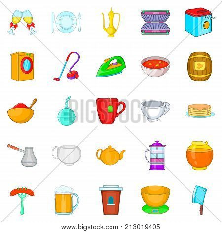 Dinnerware icons set. Cartoon set of 25 dinnerware vector icons for web isolated on white background