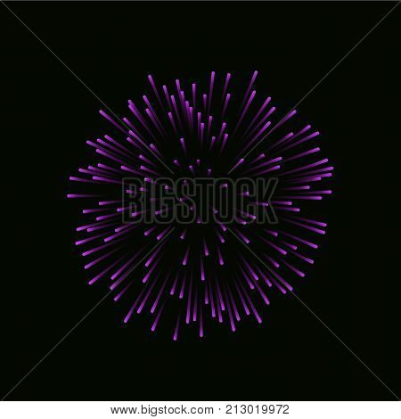 Beautiful Bright Firework Isolated On Black Background