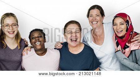 Group of women feminism togetherness smiling teamwork