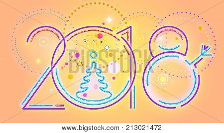 2018 New Year abstract numerals, vector illustration of 2018 New Year numerals and colorful decorations.